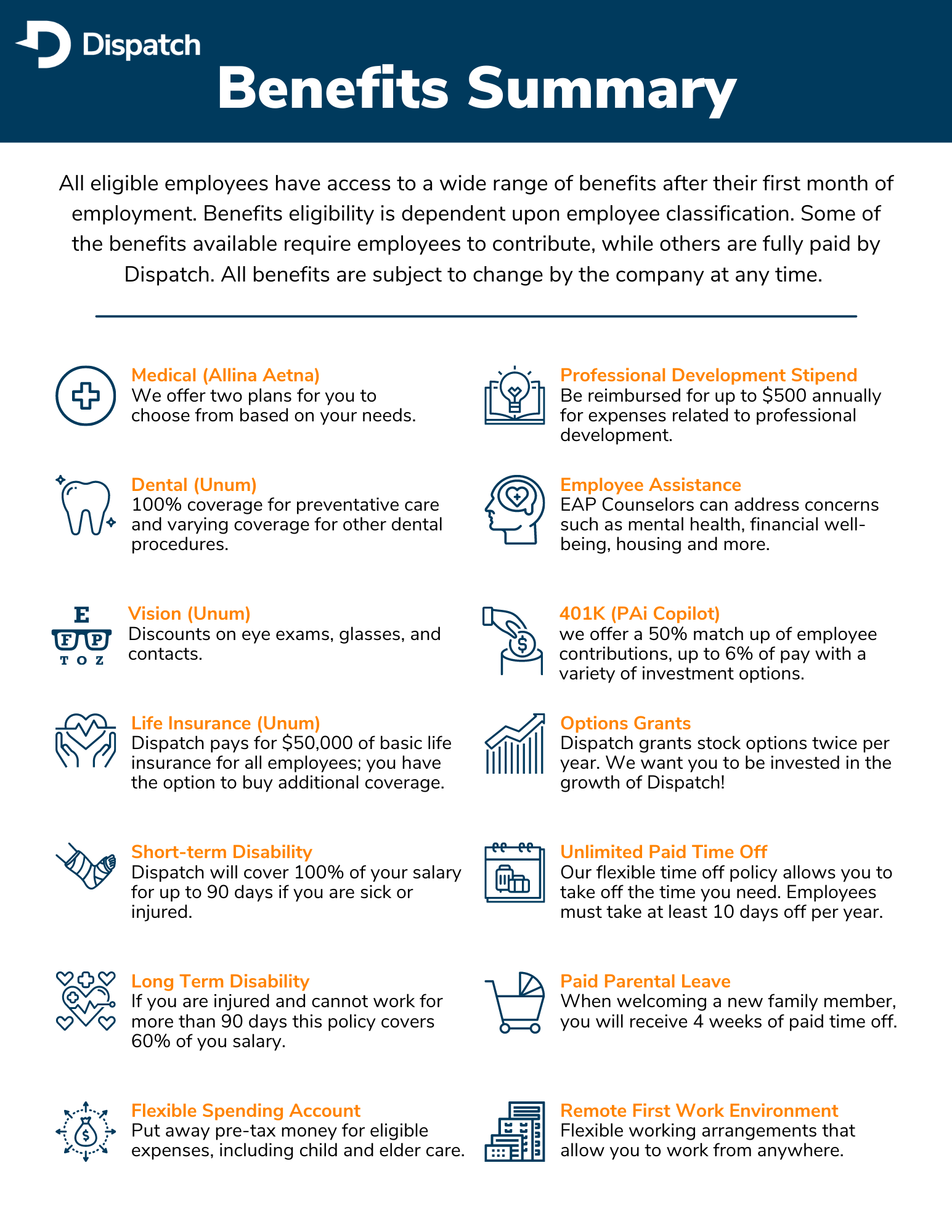 Employee Benefits Summary