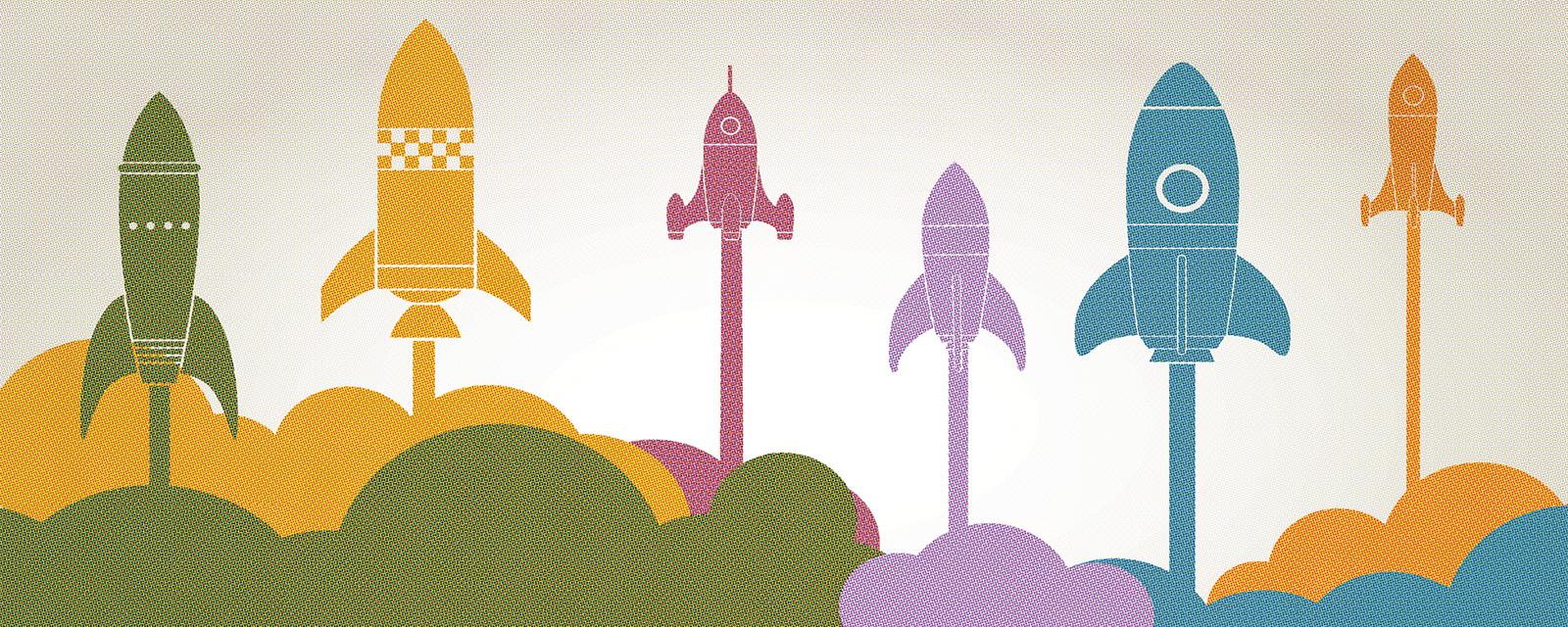 multi-colored rockets